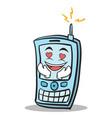 kissing phone character cartoon style vector image vector image