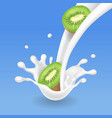 kiwi fruit and milk splash or yogurt realistic vector image vector image