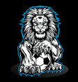 lion aggry play football drawing background vector image vector image
