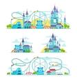 Magic castle roller coaster Amusement park vector image