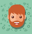 man face character with social media networks vector image vector image