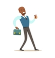 Man With Suitcase And Goffee Cup Going To Work vector image vector image