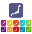 map of japan icons set vector image vector image