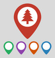 marker location icon with tree on grey background vector image