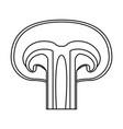 mushroom icon in monochrome silhouette on white vector image vector image