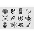 nauitical icons set vintage marine signs vector image