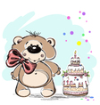 Nice little bear and cake vector image vector image