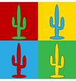 Pop art cactus icons vector image