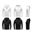 realistic hoodie mockup black sweatshirt white vector image