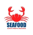 Red crab icon for seafood shop or cafe design vector image
