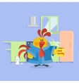 Rooster Bird in Bathrobe Cock Drinks Coffee vector image vector image