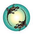 salamanders green circle pattern vector image vector image