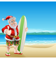 santa on the beach vector image