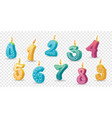 set colored candles for holiday hand-drawn vector image
