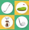 set of golf club equipment sport vector image vector image