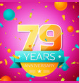 seventy nine years anniversary celebration design vector image