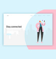 social network landing page template woman vector image