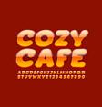stylish emblem cozy cafe glossy shiny font vector image