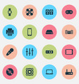 technology icons set with setting tablet vector image