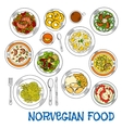 Traditional norwegian seafood and vegetable dishes vector image vector image