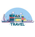 travel concept signs and icons on vector image