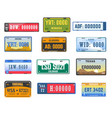 vehicle license car number plates american states vector image