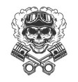 vintage monochrome biker skull vector image vector image