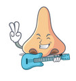 with guitar nose mascot cartoon style vector image vector image
