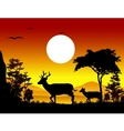 deer silhouettes with landscape background vector image