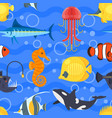 flat style seamless pattern with exotic fish vector image