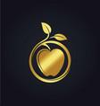 organic fruit apple nature gold logo vector image