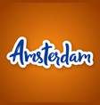amsterdam - hand drawn lettering phrase sticker vector image
