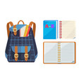 backpack for kids with abc open copybook vector image