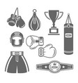 boxing equipment monochrome design elements vector image