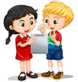 Boy and girl looking at the screen vector image vector image