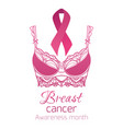 breast cancer awareness pink ribbon with pink vector image vector image