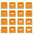 butterfly icons set orange vector image vector image