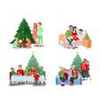 christmas family scenes children open presents vector image vector image