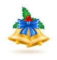 christmas gold bells with bow vector image vector image