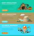 coal mining 3 flat interactive banners vector image vector image