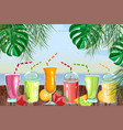 cocktail drinks set fresh juicy smothies and vector image vector image