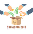 crowdfunding public contribution money donor vector image vector image