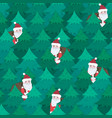 cute christmas pattern with santa in fir forest vector image vector image