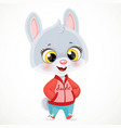 cute little bunny boy in in a jacket and sneakers vector image vector image