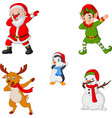 dancing christmas cartoon santa claus elf reinde vector image