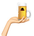 female hand holding on palm a glass mug with vector image vector image