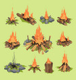 fire flame or firewood outdoor travel bonfire vector image