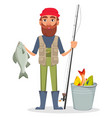 fisher cartoon character vector image vector image