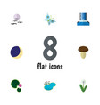 flat icon natural set of cascade half moon pond vector image vector image