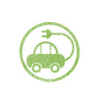 Green ecological electric car sign with hand drawn vector image vector image
